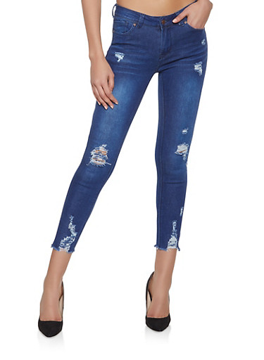 WAX Frayed Push Up Skinny Jeans,DARK WASH,large