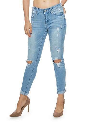 WAX Ripped Skinny Jeans,LIGHT WASH,large