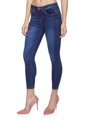WAX Cropped Push Up Skinny Jeans,DARK WASH,large