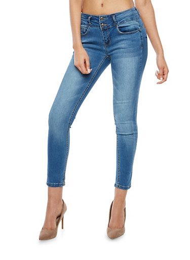 WAX 2 Button High Waisted Skinny Jeans,MEDIUM WASH,large