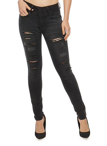WAX Distressed High Waisted Skinny Jeans,BLACK,large