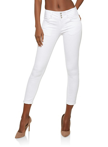WAX 3 Button Push Up Skinny Jeans - WHITE - 1074071619084