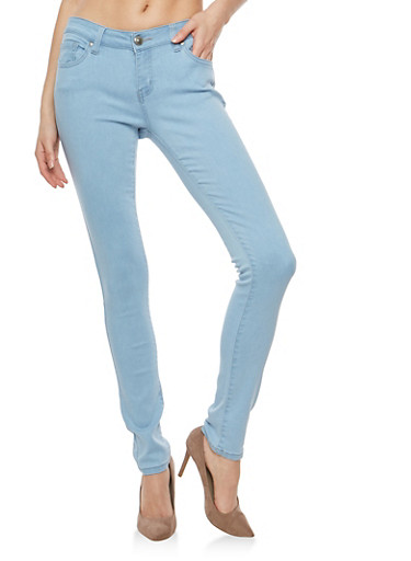 WAX Solid Skinny Jeans,LIGHT WASH,large