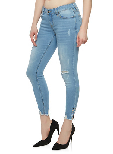 WAX Distressed Jeans with Metallic Ring Detail,LIGHT WASH,large