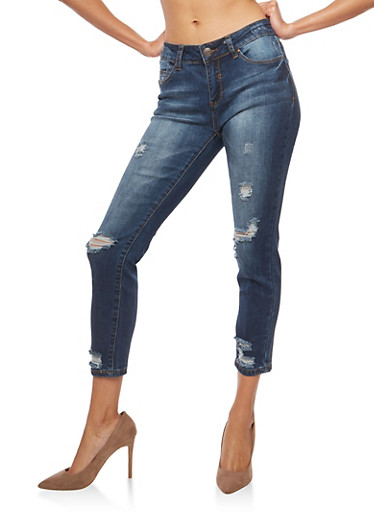 WAX  Cropped Skinny Jeans,DARK WASH,large