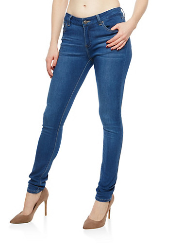WAX Skinny Jeans,MEDIUM WASH,large