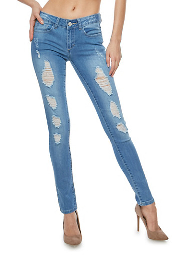 WAX Destroyed Skinny Jeans,MEDIUM WASH,large