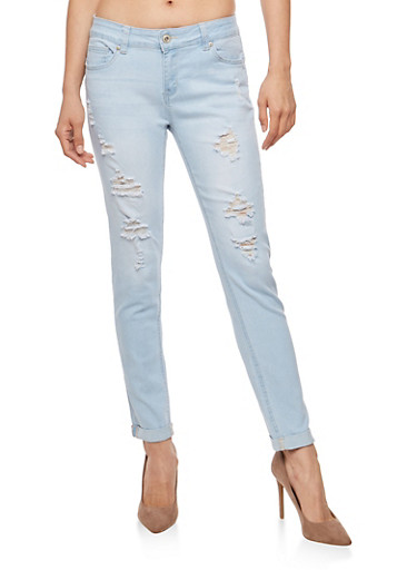 WAX Destroyed Rolled Cuff Push Up Jeans,LIGHT WASH,large