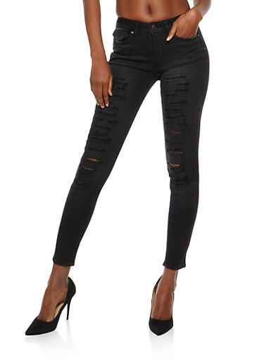 WAX Destruction Skinny Jeans,BLACK,large