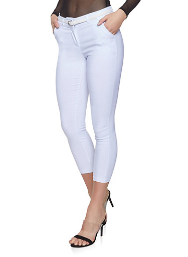 Belted Stretch Dress Pants,WHITE,large