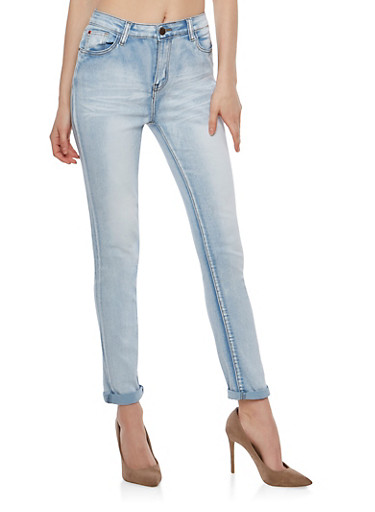 Faded Whisker Wash Skinny Jeans,ICE,large