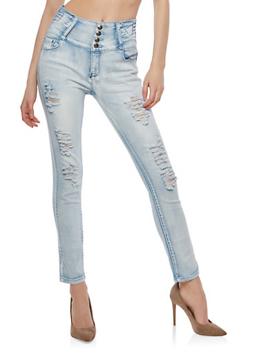 4 Button High Waisted Destroyed Skinny Jeans,ICE WASH,large