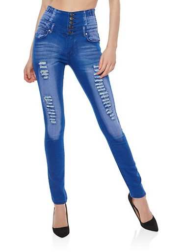 Distressed 4 Button High Waisted Skinny Jeans,BLUE,large