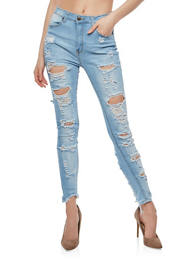 Destroyed High Waisted Skinny Jeans at Rainbow Shops in Jacksonville, FL | Tuggl