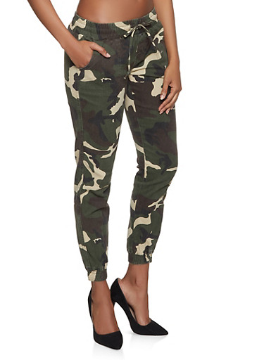 Camo Denim Joggers,OLIVE,large
