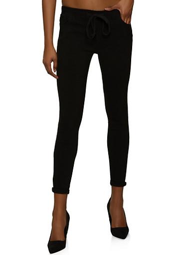 Roll Cuff Stretch Pants,BLACK,large