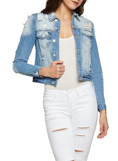 Almost Famous Frayed Denim Jacket,MEDIUM WASH,large