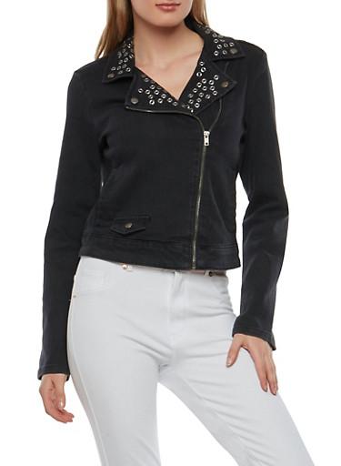 Grommet Denim Moto Jacket,BLACK,large