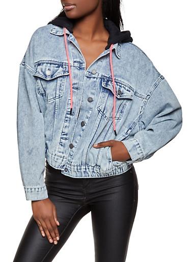 Hooded Denim Jacket,MEDIUM WASH,large