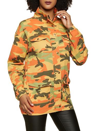 Camo Zip Front Denim Jacket,ORANGE,large