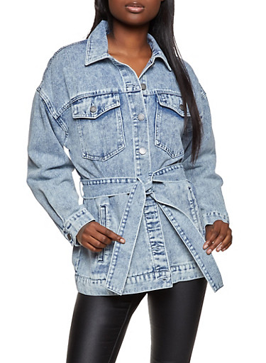 Long Belted Denim Jacket,LIGHT WASH,large