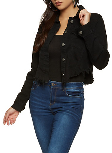 Frayed Hem Jean Jacket,BLACK,large
