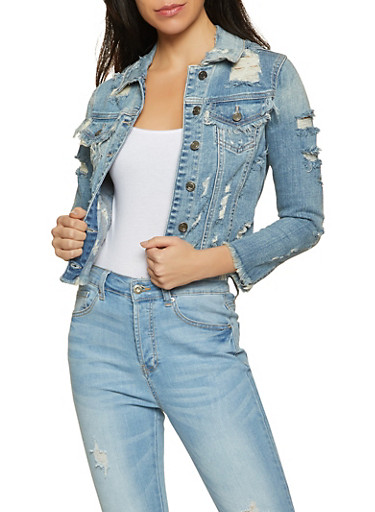 Cello Distressed Jean Jacket,LIGHT WASH,large