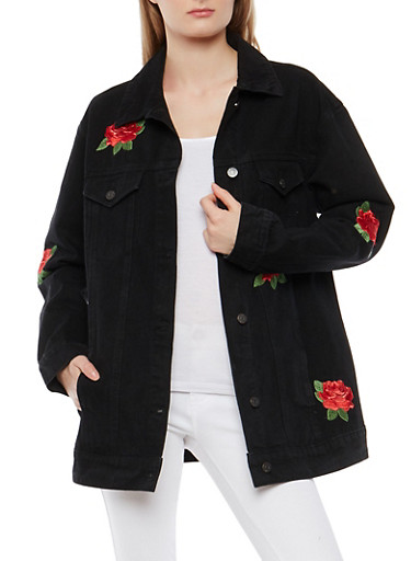 Cello Rose Embroidered Oversized Denim Jacket,BLACK,large
