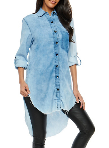 High Low Button Front Chambray Tunic,MEDIUM CLOUD,large