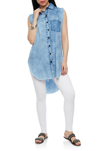 Sleeveless High Low Denim Top,MEDIUM WASH,large