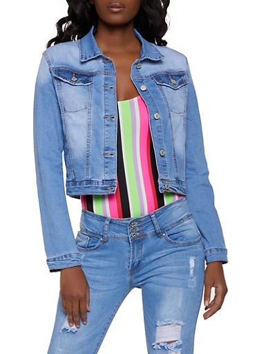 Basic Jean Jacket,MEDIUM WASH,large