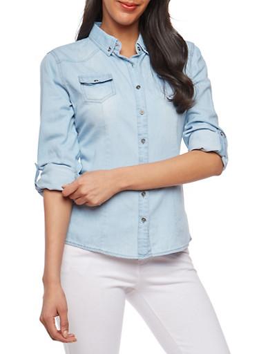 Button Front Denim Shirt,LIGHT WASH,large