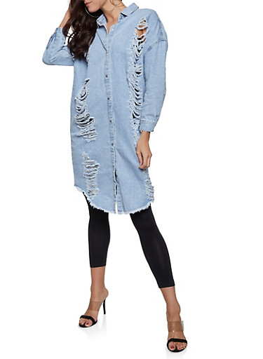 Highway Button Front Denim Tunic Top,LIGHT WASH,large