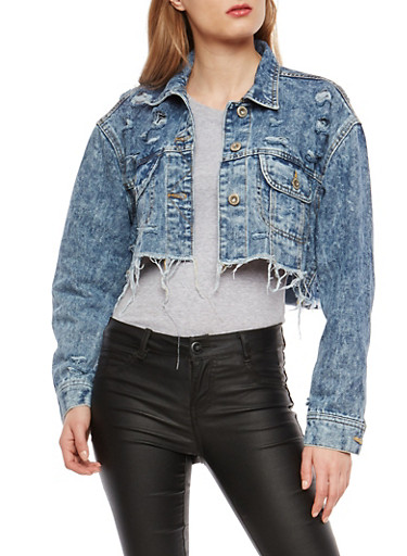 Highway Cropped Acid Wash Denim Jacket,DENIM,large