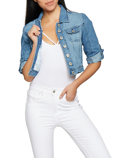 Highway Cropped Denim Jacket,MEDIUM WASH,large