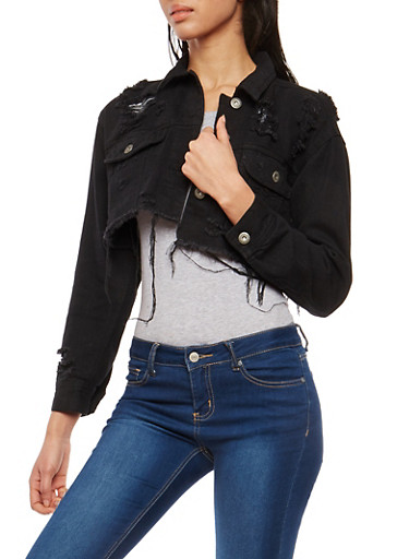 Highway Distressed Cropped Jean Jacket | Tuggl