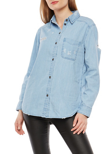 Distressed Button Front Denim Shirt,LIGHT WASH,large
