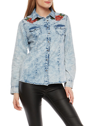 Floral Embroidered Denim Button Front Top,LIGHT WASH,large