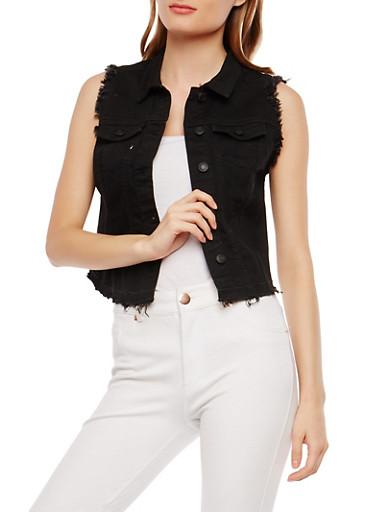 WAX Frayed Denim Vest,BLACK,large