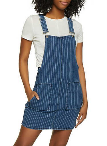 Almost Famous Striped Denim Overall Dress,MEDIUM WASH,large