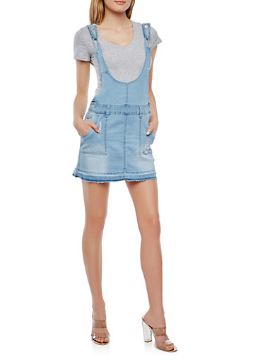 Frayed Denim Mini Overall Dress,LIGHT WASH,large