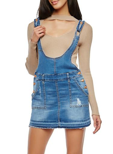 Frayed Denim Mini Overall Dress,MEDIUM WASH,large