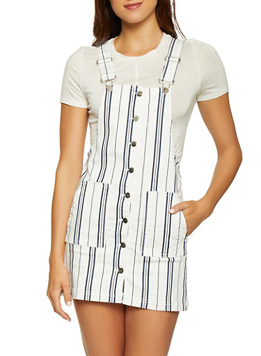 Almost Famous Striped Overall Dress,WHITE,large