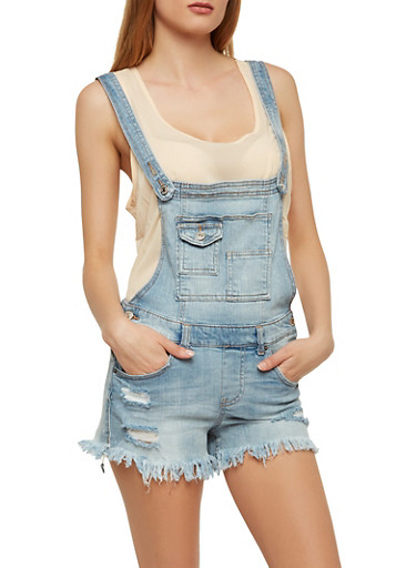 Almost Famous Frayed Denim Shortalls,LIGHT WASH,large