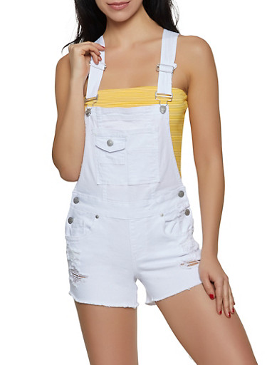 Almost Famous Frayed Shortalls | White,WHITE,large