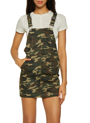 Almost Famous Denim Camo Overall Dress,OLIVE,large