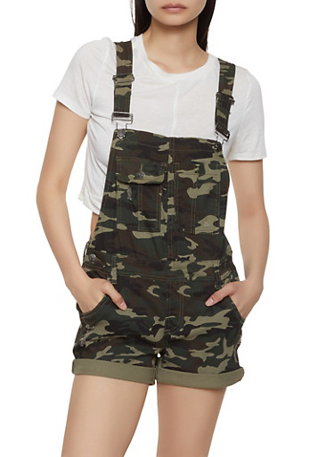 Almost Famous Denim Camo Shortalls,GREEN,large