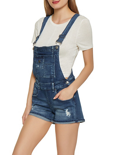 Almost Famous Dark Wash Denim Shortalls,DARK WASH,large
