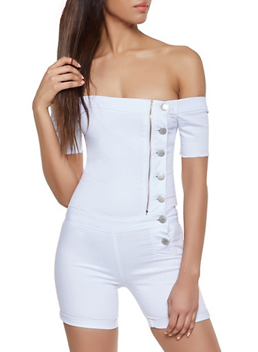 VIP Off the Shoulder Romper,WHITE,large