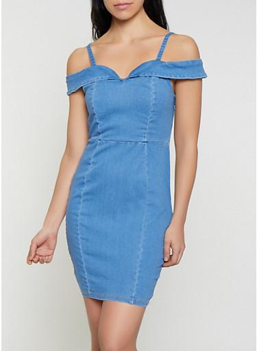 Denim Off the Shoulder Bodycon Dress,MEDIUM WASH,large